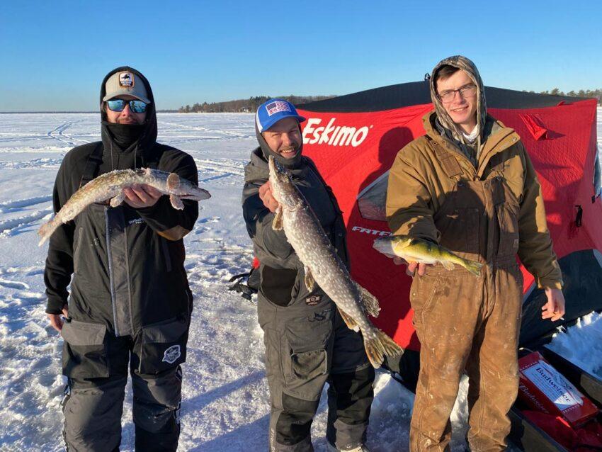 ice fishing on Houghton Lake